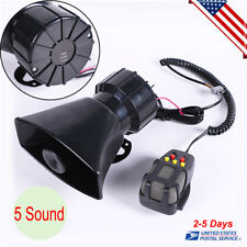 12V Car Motorcycle Alarm Warning Siren Horn Megaphone 5 Tone Loud Speaker + MIC