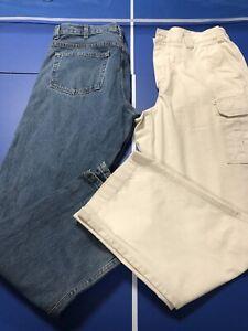 Lot of 2 Men's Jeans size 36 x 32, No Label,Blue, LLBean, Off White, Cargo Pants