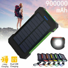 Portable 900000mAh Solar Charger Power Bank Hiking Battery 2 USB LED for Phone
