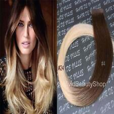 10x Ombre Remy Tape In Skin Weft Human Hair Extensions Medium Brown Light Blonde