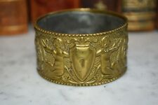 Antique French Brass Relief Napkin Ring Cherubs Shield Urn Beaded Edge