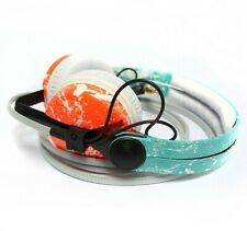 Custom Cans Turquoise Blue UV Orange White Splatter HD25 2016 DJ Headphones