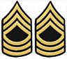 2 Pair Army Master Sergeant E-8 Blue Gold Rank Insignia Chevron Patches - Male