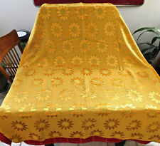 Vintage Pair Curtain, 2 Panels Yellow Gold Flower Power Drapes