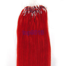 """New 16""""~26""""100s Micro Ring Beads Loop Remy Real Human Hair Extensions Straight"""