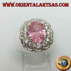 Anello in argento 925 ‰con zircone rosa di francia ovale sfaccettato e brillanti
