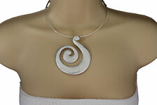 Women Silver Choker Necklace Thin Metal Snail Spin Swirl Charm Fashion Jewelry