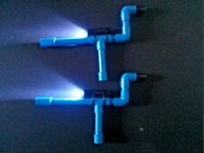 Blue Mini Marshmallow Shooters PVC Blow Guns Set of 2 w/ LED Flashlights