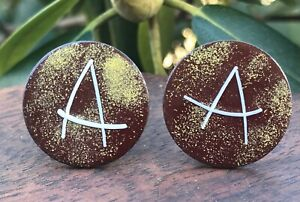 Enamel Over Copper 'A' Artisan Cuff Links Mid Century