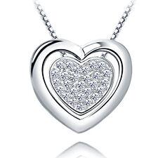 Herzkette Halskette 925er Sterling Silber Swarovski Elements Anhänger Zirkonia