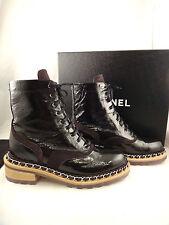 NIB Chanel 15A Black Chain Patent Leather Lace Up Biker Combat Boots 35 $1650