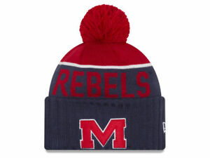 MISSISSIPPI OLE MISS REBELS NCAA BEANIE NEW ERA 2-TONE POM KNIT SKI CAP HAT NWT!