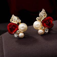 Women's Flower Ear Stud Pearl Earrings 18K Yellow Gold Filled Fashion Jewelry