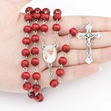 Red Wooden Rose Scented Rosary Beads Necklace Communion Bishop Rosary Pope Gift