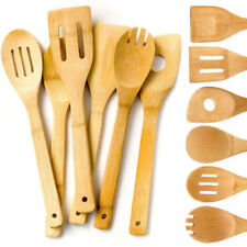 6Pcs Bamboo Wood Kitchen Tools Spoons Spatula Wooden Cooking Mixing Utensil AU