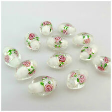 15PCS 16MMX12MM WHITE FILLING IN SILVER FLOWER OVAL GLASS BEADS -JEWELLER MAKING