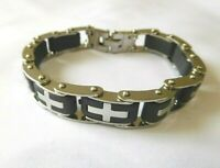 New Men Women Charm Silver Tone Cross  Bracelet Metal  Jewelry US Seller