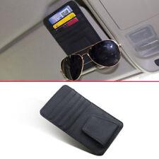 Schwarz Leder Auto Sonnenblende Kartenschlitz Tasche Hülle Packung Brillenhalter