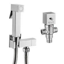 Square Douche Kit Bidet Toilet Thermostatic Brass Chrome Shower Muslim Spray Kit