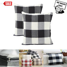 "2Pcs 18""X18"" Black and White Buffalo Check Plaid Throw Pillow Case Cushion Cover"