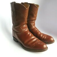 JUSTIN Cowboy Boots 9 D Men's Vintage LEATHER Western Rodeo ROPER Boot USA Brown