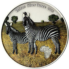 Africa Series 2015: Congo 1000 Francs Zebra .999 Silver Ounce colored