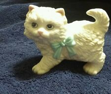 Homco Home interiors porcelain cat with blue bow