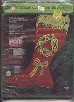 "Paragon Crewel Applique Kit Vintage 1970's 'Holly Wreath' 15"" Christmas Stocking"