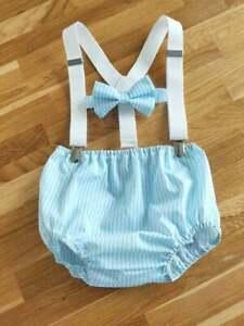 Light Blue Striped Baby Boy Cake Smash Outfit 1st Birthday Photo Shoot