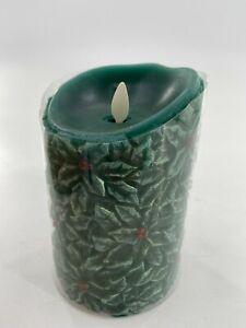 "NEW Luminara LED Flameless Green Holly Pillar Candle w/Moving Wick 5.5"""