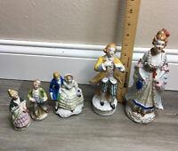 Vtg Victorian Figurines Porcelain China Bisque 5 Lot Japan Occupied Japan