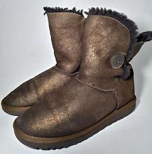 UGG Australian Bailey Button Metallic Boots Sheepskin Lining Women's SZ:8