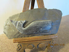 NAUTICAL WOODEN WHALE CARVING ON SLATE PLAQUE