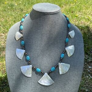Genuine Turquoise Beaded With Shell Necklace Native American.