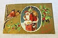 Antique Santa Merry Christmas Postcard Embossed Robins Holly & Berries Unposted