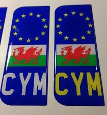 Wales Welsh CYM Number Plate Dome Sticker 3D Car Badge Decal