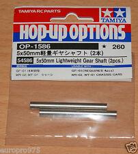 Tamiya 54586 5x50mm Lightweight Gear Shafts (2 Pcs.) (GF-01/WR-02/WT-01), NIP