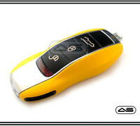 Yellow Key Fob Cover for Porsche Keyless Remote Case Casing Housing Replacement