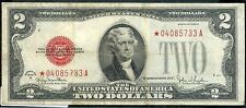 RARE RED SEAL  1928 G  STAR NOTE AU  $2.00 TWO DOLLAR BILL  *04085733A-