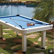 FRONTGATE 7 FT ALUMINUM WH Outdoor Pool Billiard table, COVER & 6 CUE MRP $6999