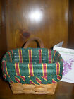 1996 Longaberger Ambrosia Booking Basket Combo w/Imperial Stripe Liner/Protector
