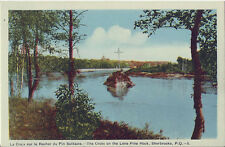 Postcard Quebec Sherbrooke Cross on Lone Pine Rock St Francois River PECO MINT