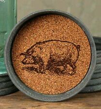 Unique Primitive Rustic Country Mason  Jar Lid Coasters Barnyard PIG Lot Set 4