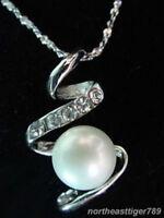 EPIC VAULT-Elegant White Pearl-Crystal Pendant-Swirl w/Necklace- Set in 18K WGP