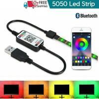 5V USB Power LED Strip Lights 5050 RGB TV Backlight Bluetooth Remote Music NEW