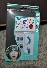 NIP-Halloween 51 Pc Face Tatoo Mermaid Crystal Tattoos, Eyelashes & Nail Kit