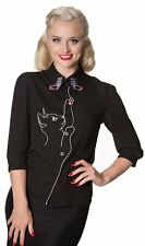 Dancing Days by Banned Black Kitty Cat Crepe Blouse
