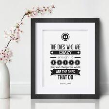 Steve Jobs Inspirational Wall Art Print Motivational Quote Poster Decor Gift him