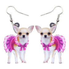 Acrylic Pink Dress ChiHuaHua Dog Earrings Drop Dangle Charm Jewelry For Women
