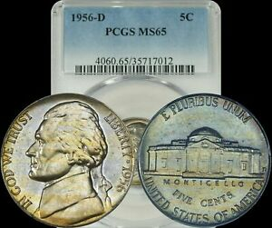 1956-D Jefferson Nickel PCGS MS65 Lightly Gold Toned